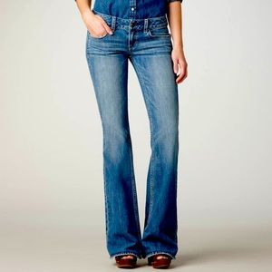 AEO • Blue Hipster Low-Rise Flare Jeans • Sz 4